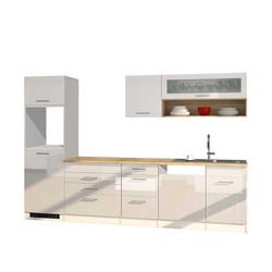 Hochglanz Küchenzeile in Weiß modern (8-teilig)