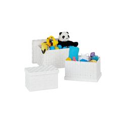 relaxdays Aufbewahrungskorb Aufbewahrungskorb 3er Set mit Deckel