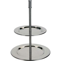 Etagere aus Edelstahl mit zwei Etagen - Metalletagere 14x19 cm