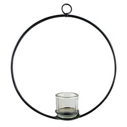 Parts4Living Teelichthalter Metall Ring mit Teelichtglas Skandi Ø 38 cm x 38 cm