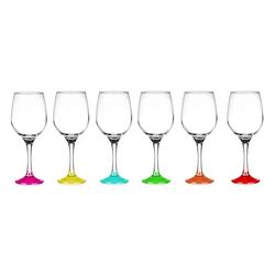 Sendez Weinglas 6 Weingläser 250ml mit bunten Füßen Weinglas Weißweingläser Rotweingläser Weinkelche, Glas