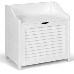 COSTWAY Wäschekorb Wäschesammler, Wäschekorb Holz Wäschetruhe mit Deckel, weiß