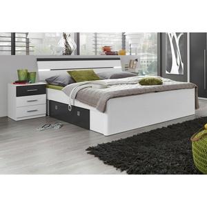 Bett, inkl. 2 Nachttische weiß ohne Matratze