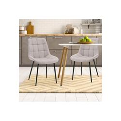 Merax Polsterstuhl LivingWohl 2 Stk.Esszimmerstühle, Wohnzimmerstuhl Sessel Stoffkissen-Akzentstühle, Macaron-Farben grau