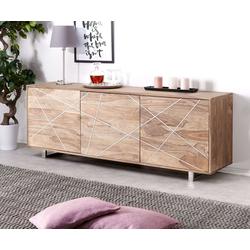 DELIFE Sideboard Wyatt, Sheesham Natur 175 cm mit 3 Türen Edelstahl Design Sideboard