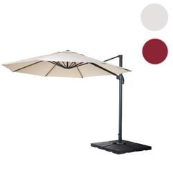 Gastronomie-Ampelschirm HWC-A96, Sonnenschirm, rund  4m Polyester/Alu 27kg ~ creme mit Stnder