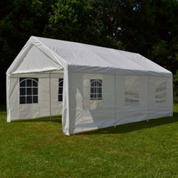 VCM Hochwertiges Festzelt Partyzelt Bierzelt Gartenzelt Pavillon weiß 4x6 m PE Stahl