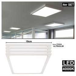 etc-shop LED Panel, 4er Set LED Decken Aufbau Panel Leuchten Wohn Ess Zimmer Raster ALU Lampen weiß