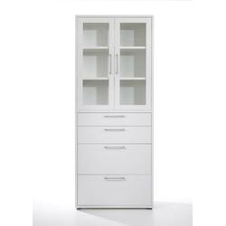 ebuy24 Regal, Mehrzweckregal Prisme Büro Aufbewahrung 2 Türen, 4 Schubladen wei