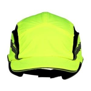 3M™ First Base™ 3 Classic HV Anstoßkappe, gelb fluoreszierend, Arbeitskappe mit reflektierenden Paspeln und Streifen, Schirmlänge: 70 mm