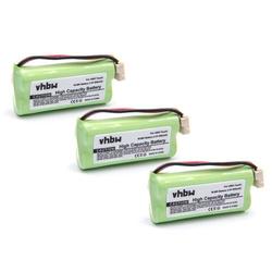 vhbw 3x Ni-MH Akku 800mAh (2.4V) für Handy Telefon AT&T TL92470, TL92471 GE 30522EE1, 30522EE2, 30522EE3, 30522EE4, 30524EE2 wie BT266342.