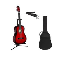 Gitarrenset Konzertgitarre 1/4, inkl. Gitarrentasche und Gitarrengurt rot