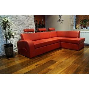 Rot Echtleder Ecksofa Echt Leder Eck Sofa Couch mit Bettfunktion und Bettkasten