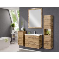 Badezimmer Beta in Eiche 5 teilig mit Waschbeckenunterschrank inklusive Becke...