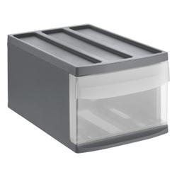 Rotho SYSTEMIX Schubladenbox, 1 Schubfach, Aufbewahrungsbox aus PP-Kunststoff , Maße: 395 x 255 x 203 mm, anthrazit