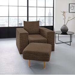 LOOKS by Wolfgang Joop Sessel, Verwandlungssessel: aus Sessel wird Sessel mit Hocker braun