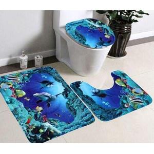 Yudanny 3-teiliges Set Bad Rutschfester Teppich + Deckel Toilettendeckel + Badematte