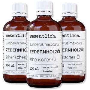 wesentlich. Zedernholzöl - ätherisches Öl - 100% naturrein (Glasflasche) - u.a. für Duftlampe und Diffuser (3x100ml)