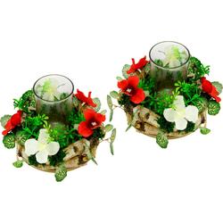 Kunstpflanze Kerzenkranz mit Glas Kerzenkranz, I.GE.A., Höhe 12 cm