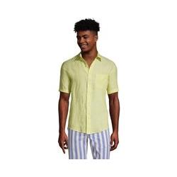 Leinenhemd mit kurzen Ärmeln, Classic Fit, Herren, Größe: M Normal, Gelb, by Lands' End, Gelb Zitrone Leinen - M - Gelb Zitrone Leinen
