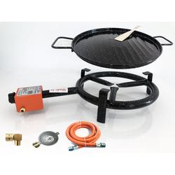 Paella Gasbrenner 30cm 1-Ring Hockerkocher 8 KW Gaskocher Gasgrill + Grillplatte + Set