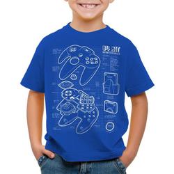 style3 Print-Shirt Kinder T-Shirt N64 Controller Blaupause 64-Bit Videospiel blau 140