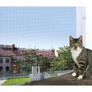TRIXIE Schutznetz  Katze  Innen & Außen  Transparent  Weiß  Nylon  8000 mm  3000 mm