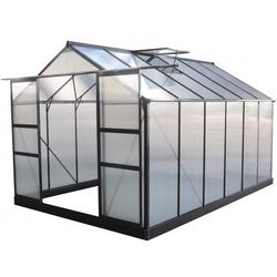 Gewächshaus 9,13m² anthrazit, Doppelstegplatten aus Polycarbonat 4mm + Fundament Green Protect