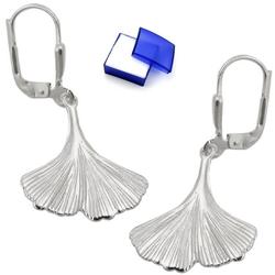 unbespielt Paar Ohrhaken Brisur Ohrhänger Ohrringe Ginkgo Blatt glänzend 925 Silber 16 x 17 mm inklusive Schmuckbox, Silberschmuck für Damen