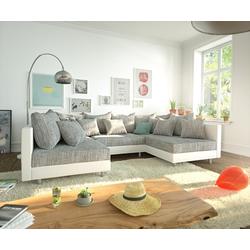 DELIFE Wohnlandschaft Clovis, Weiss Hellgrau Wohnlandschaft Modulares Sofa grau 300 cm x 67 cm x 185 cm