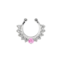 Adelia´s Nasenpiercing Nasenpiercing Fake Ring Septum Silber mit 11 Steinen, Mit 11 Steinen rosa