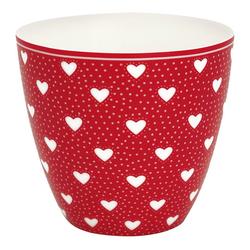 Greengate Becher Greengate Latte Cup PENNY Rot mit Herzen
