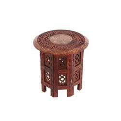 Casa Moro Beistelltisch Orientalischer Beistelltisch Nail Höhe 30 cm Ø 30 rund aus Echtholz Sheesham mit filigranen Messing verziert, HMS127, Handmade
