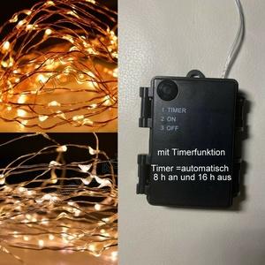 Timer LED Micro Drahtlichterkette Lichterketter Innen& Aussen 20/40/100 Batterie