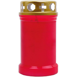 HS Candle Grabkerze (1-tlg), Grabkerze Grablicht Grableuchte mit goldenem Deckel rot