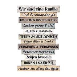 BigDean Wandbild Holzschild groß Familienregeln mit Sprüchen Wand Deko Plankenschild Familie Vintage Shabby Chic 51 x 33 cm, Text (1 Stück)