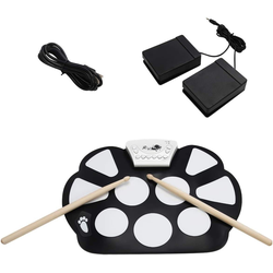 COSTWAY Elektrisches Schlagzeug elektronisches Schlagzeug, 10 Pad E-Drum, Roll-Up-Trommel, Trommel, Roll-Up-Drum, Drum Set faltbar, inkl. 2 Fußpedale und Sticks