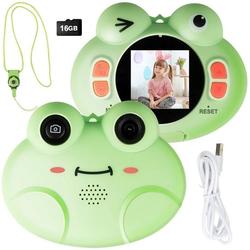 COSTWAY Kinder Digitalkamera Videokamera Kinderkamera (8MP/1080P HD, inkl. Trageband, 16GB-Speicherkarte, mit Cartoon-Schutzhülle) grün 7.5 cm x 9 cm