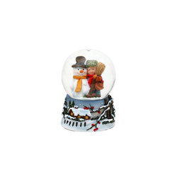 SIGRO Schneekugel Schneekugel Schneemann mit Kind bunt