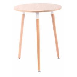 CLP Esstisch Amalie, Retro-Design Küchentisch mit 3 Holzbeinen natur