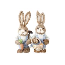 Gotui Osterhase, Hasen Spielzeug,Ostern hasen,Künstliches Strohkaninchen,(Zwei Hasen),Geschenk