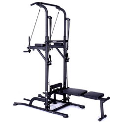 Technofit Kraftstation Power Tower Kraftstation mit Klimmzugstange und Trainingsbank 165cm bis 235 cm