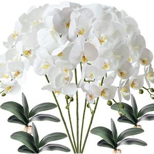 FagusHome 5 Stück künstliche Phalaenopsis Orchideen Blumen Weiß mit 4 Bündeln Künstliche Orchidee Blätter für Deko