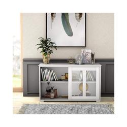 COSTWAY Kommode Sideboard, mit Schiebetüren weiß 33 cm x 62.5 cm x 106.5 cm