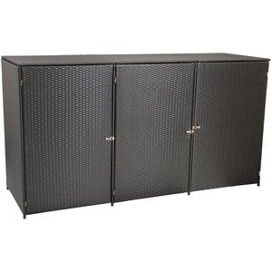 gartenmoebel-einkauf Mülltonnenbox für 3X Tonnen bis 120 Liter, 190x66x110cm, Stahl + Polyrattan Geflecht braun
