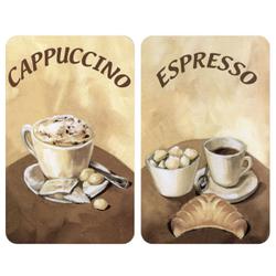 WENKO Universal Herdabdeckplatte, 30 x 52 cm, Herdabdeckung für Glaskeramik-, Elektro- und Gasherde, Muster: Kaffee, 2 Platten