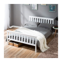 Gotui Holzbett, 140 x 200 cm Doppelbett mit Lattenrosten, weiß