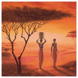 Linoows Papierserviette 20 Servietten Afrika, Sonnenaufgang in der Savanne, Motiv Afrika, Sonnenaufgang in der Savanne