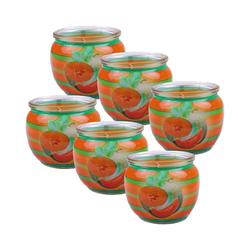 HS Candle Duftkerze (6-tlg), Kerze im Glas, Motiv-Kerze im 6er Pack mit ca. 22 Std. Brenndauer, Höhe: 6cm, Ø7cm orange