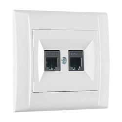 Defne Doppel Netzwerkdose 2x Cat 3 + Rahmen, VDE Zertifiziert, Unterputz, in weiß (innen schwarz)